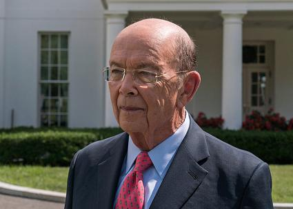 Commerce Secretary Wilbur Ross outside the White House (Evan Walker | flickr)