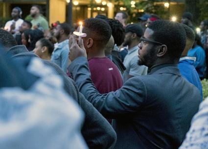 Hundreds attend a vigil for Richard Collins III at Bowie State University (Jay Reed | The Diamondback)