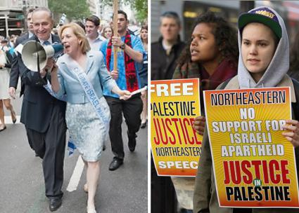 Left: Sens. Chuck Schumer and Kirsten Gillibrand at a pro-Israel parade in New York; right: Demonstrating in solidarity with Palestine at Northeastern University