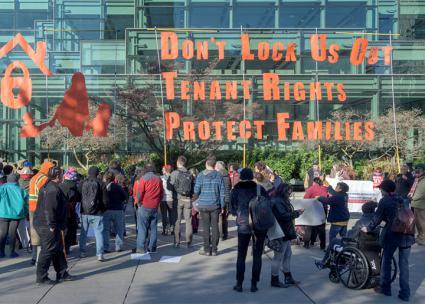 Demonstrating against the landlords in Seattle (Rik Shade)