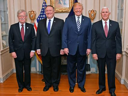Left to right: National Security Advisor John Bolton, Secretary of State Mike Pompeo, Donald Trump and Vice President Mike Pence (Wikimedia Commons)