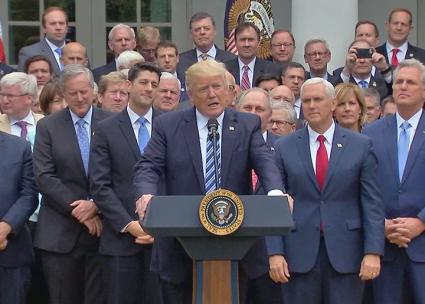 Trump and Republican Party leaders celebrate the House passage of a health care repeal law