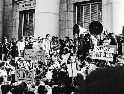 Students occupy Sproul Hall during the Berkeley Free Speech Movement of 1964