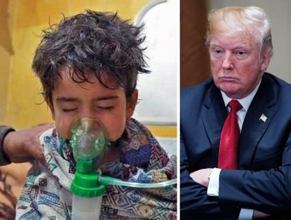 Left to right: Victim of the chemical attack in Douma; Donald Trump