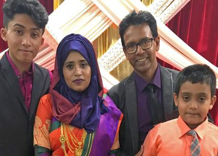 Riaz Talukder (second from right) and his family continue to resist his deportation