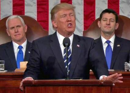 Donald Trump delivers his first speech to Congress