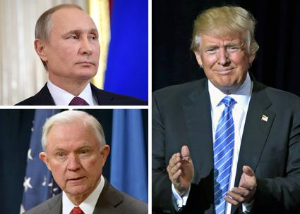 Clockwise from top left: Vladimir Putin, Donald Trump and Jeff Sessions