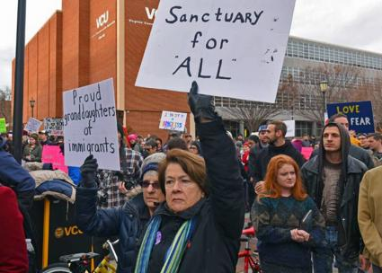 Demonstrating for sanctuary campuses in Virginia  (Scott Elmquist)