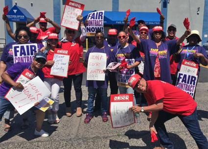 Nurses and caregivers hit the picket line for a one-day strike against Fresenius (New York State Nurses Association | Twitter)