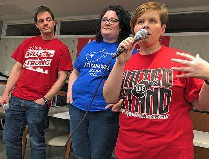 Left to right: West Virginia teachers Jay O'Neal, Emily Comer and Katie Endicott speak at a solidarity meeting in New York (Eric Ruder | SW)