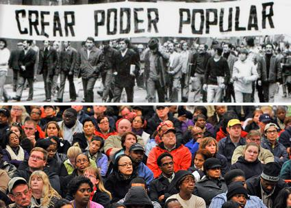 Above: Chilean workers demonstrate during the early 1970s rebellion; below: at a union meeting in the U.S.