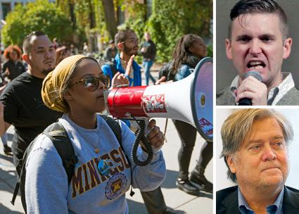 Clockwise from left: A campus protest against bigotry in Minnesota; Richard Spencer; Stephen Bannon