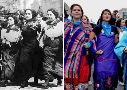 Left: On the march during the Uprising of the 20,000 in 1909; right: at the Women's March in New York City in 2017