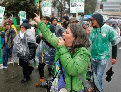 Public-sector workers rally to defend their union in Berkeley, California