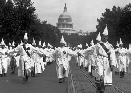 The Ku Klux Klan demonstrates in Washington, D.C. during the summer of 1925