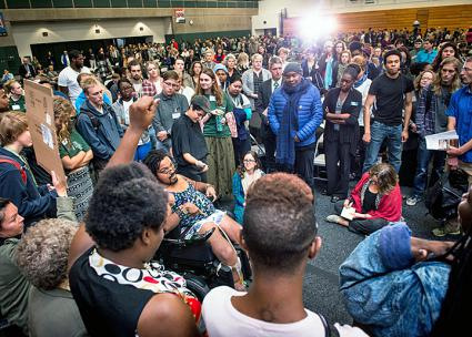 Students rally against racism at Evergreen State College (The Cooper Point Journal)