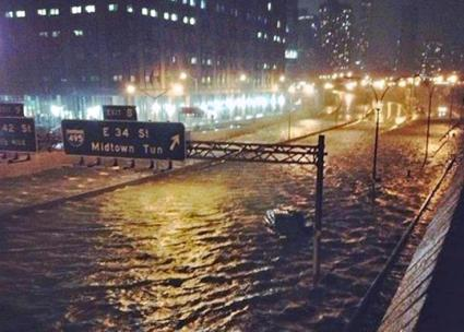 Flooding in Lower Manhattan during Hurricane Sandy
