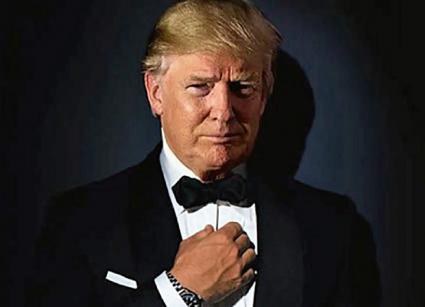 Trump models a high-end tuxedo