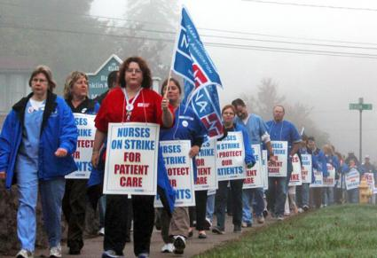 Nurses walk the picket line during a previous one-day strike against Baystate Franklin Medical Center