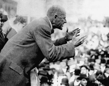 Eugene V. Debs on the speakers' platform
