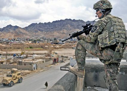 U.S. troops patrol in Farah City, Afghanistan (Lt. J.G. Matthew Stroup)