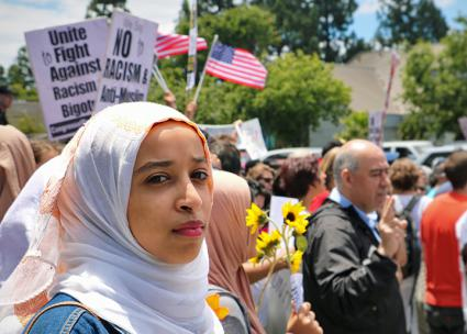 Opponents of Islamophobia challenge the right wing in San Jose (Luke Pickrell)