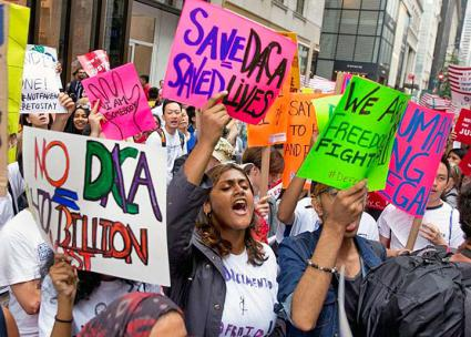 New Yorkers protest in support of DACA outside Trump Tower