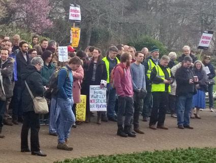 Striking university workers rally to defend their pensions and working conditions (USS Strike Solidarity)