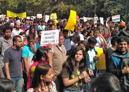 Several thousand students from around Dehli came out to oppose right-wing violence (Bonojit Hussain)