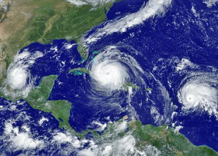 Hurricanes Katia (left), Irma (center) and Jose (right) all visible in a satellite image
