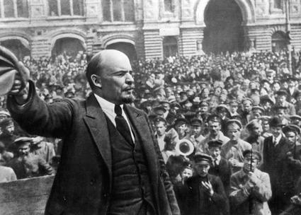 Lenin speaks to a mass demonstration in 1917 (Albert Rhys Williams)