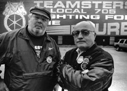 Teamsters Local 705's Jerry Zero (left) and John McCormick in the 1990s (Marc Pokempner | In These Times)