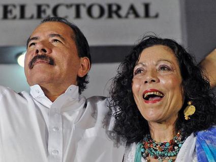 Nicaraguan President Daniel Ortega (left) and Vice President Rosario Murillo