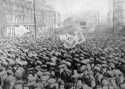 Workers pour into the streets of Belfast during the Outdoor Relief strike of 1932