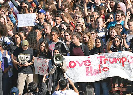 UC Berkeley students walk out of class to protest Trump's inauguration