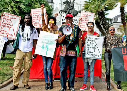 Anti-racists rally for the removal of Confederate monuments in New Orleans