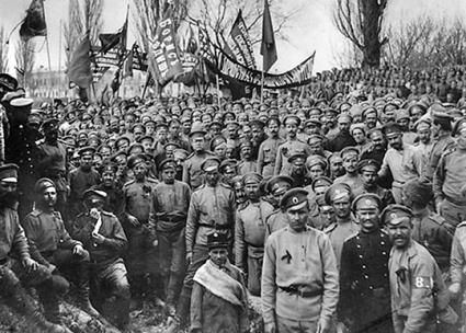 Russian soldiers demonstrate against war during the summer of 1917