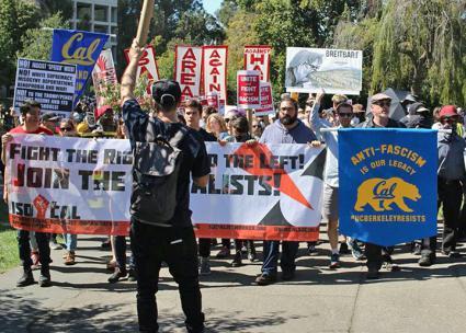 "Opponents of the ""alt-right"" mobilize at UC Berkeley  (SW)"