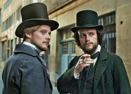 August Diehl (right) as Karl Marx and Stefan Konarske as Friedrich Engels in the movie The Young Karl Marx