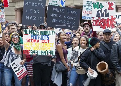 Standing against alt-right hate in front of City Hall in Portland (Paul Gordon | ZUMA Press/Newscom)