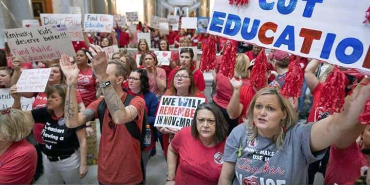 Kentucky teachers rally inside the state Capitol
