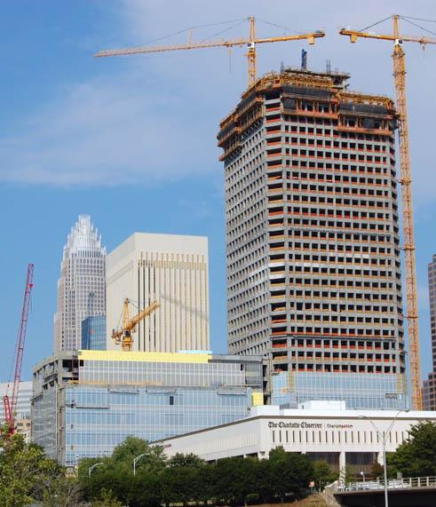 New office towers under construction in Charlotte, N.C.