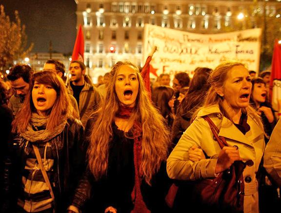 Protesters fill Syntagma Square during a general strike against further austerity
