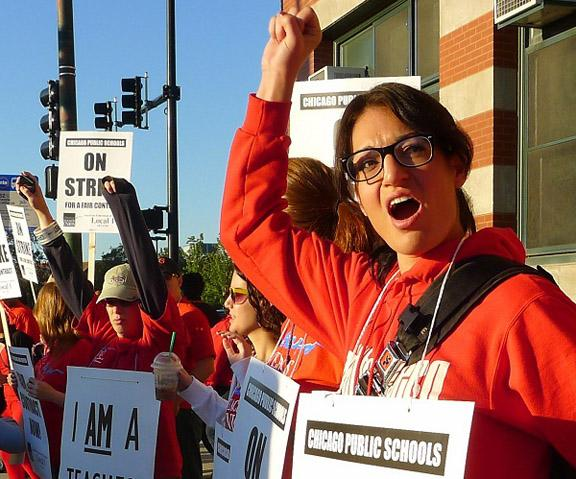 Chicago teachers picket outside Marshall Metro High School on the West Side