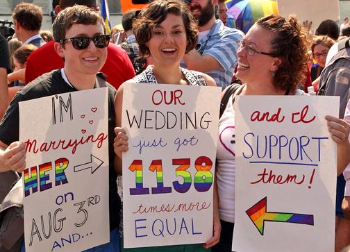 Celebrating outside the U.S. Supreme Court after the Defense of Marriage Act was struck down