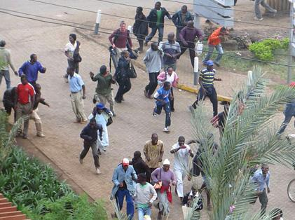 People fleeing the attack on Westgate Mall in Nairobi, Kenya