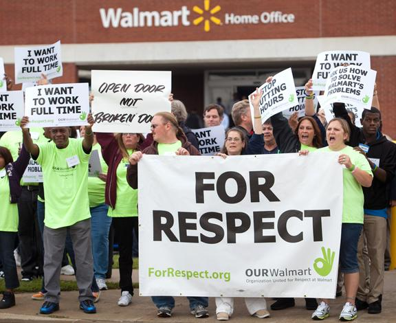 Walmart workers and their supporters on the picket line for respect