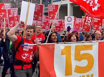 Seattle supporters of a $15 minimum wage on the march
