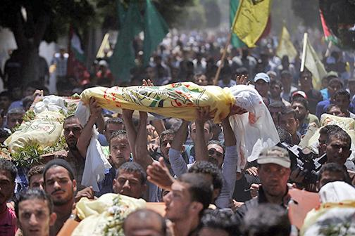 A funeral for one of the victims of Israeli airstrikes in Gaza