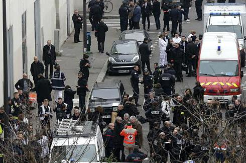 Police surrounding the Paris offices of Charlie Hebdo following the mass shootings